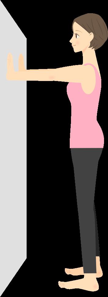 画像:両手を壁に添えた状態